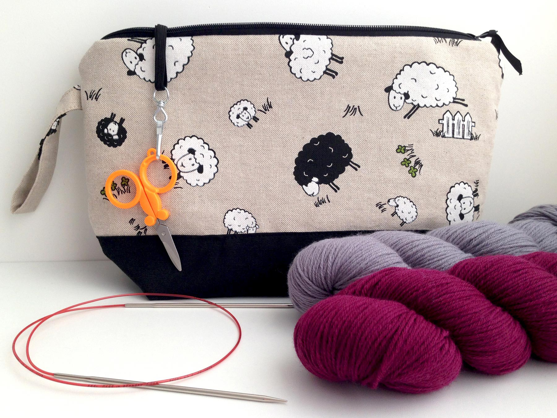 Handmade Horizontal Knitting Project Bag Sheep Black Canvas