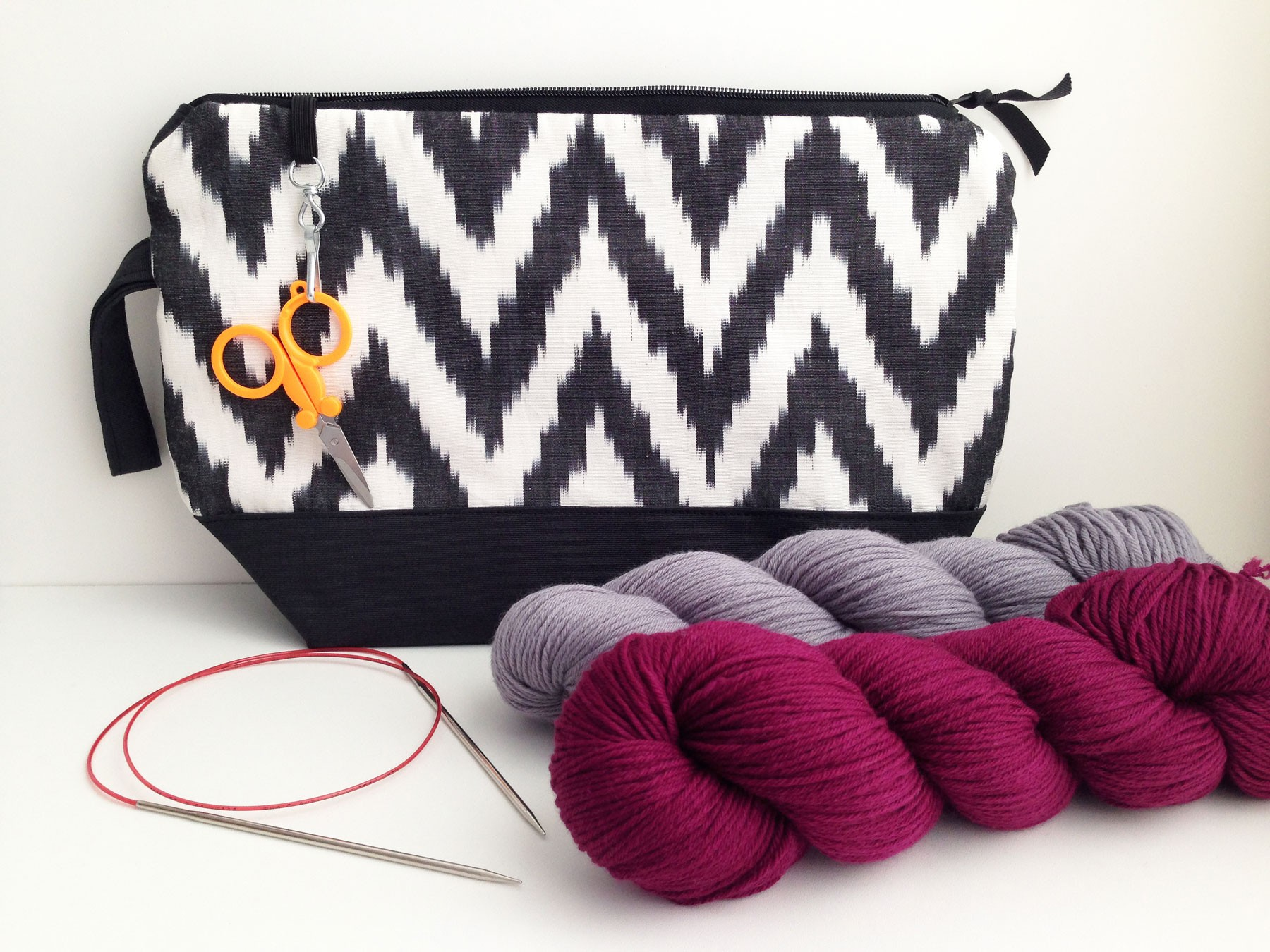 b99b8bf207889 Handmade horizontal knitting project bag: chevron silk ikat + gray canvas